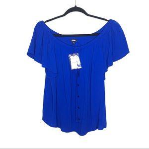 Express Blue Off The Shoulder Button Front Blouse